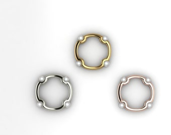 Ornamental Ring -14k Gold Pearl Ring