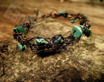 Fairy Copper wire Bracelet with semiprecious chips