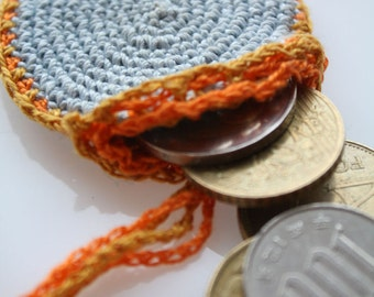 Crochet Drawstring Coins Holder, blue crochet purse, round personal pendant, necklace purse, totem saver, ring keeper, blue and orange,purse