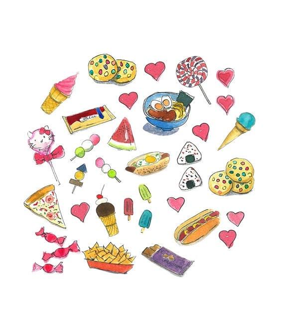 Snacks Clipart Watercolor clipart Printable home decor