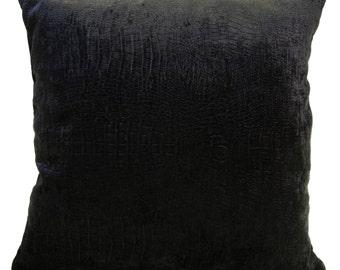 Black Pillow, Throw Pillow Cover, Decorative Pillow Cover, Cushion Cover, Pillowcase, Accent Pillow, Toss Pillow, Animal Print, Velvet Cover