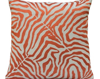 Ivory Pillow, Throw Pillow Cover, Decorative Pillow Cover, Cushion Cover, Pillowcase, Accent Pillow, Linen Pillow, Orange Silk Embroidery