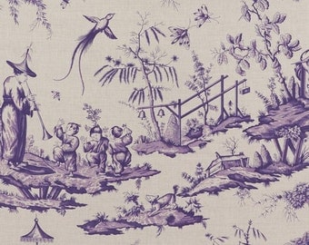 SCHUMACHER CHINOISERIE ASIAN Cathay Cotton Linen Toile Linen Fabric 10 yards Purple Iris
