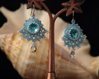 Swarovski Crystal Blue Drop Earrings ,Aquamarine Earrings Sterling Silver