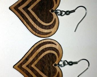 Laser Cut Earrings --  Heart Designs