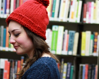 Classic Red Knitted Winter Hat with Pom pom