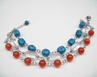 Bracelet multiple row, tangerine, turquoise and clear glass.