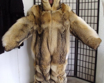 Brand new double sided coyote fur snowsuit jumpsuit bodysuit coat w/ hood for men man size all  custom made