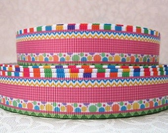 7/8 inch - Party Borders --- Easter birthday   - Printed Grosgrain Ribbon SM112 for Hair Bow