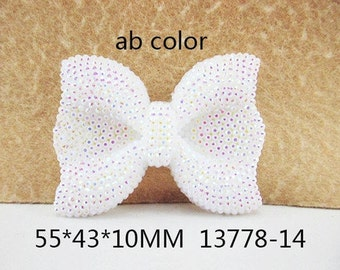1 Piece - 53mm X 43mm X 10mm- 1 inch center - AB White Acrylic Hair Bow Resin - Accent - Flat Back Flatback 13778-14