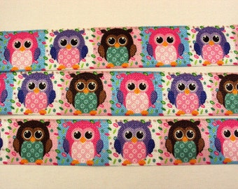 1 inch ELASTIC - Owl Blocks - Owls - for Head Band