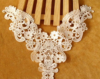Venice Ivory Cotton lace Collar Appliques Off White Floral Emboridered Collar 1 pcs(61-5)