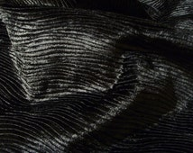 Charcoal black velvet upholstery fabric flame retardant wavy stripes embossed