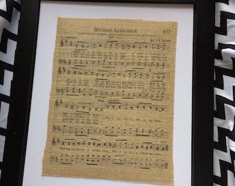 "Hymn Burlap Print ""Blessed Assurance"""