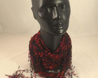 Ladder yarn red black cloth