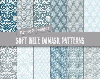 Blue Damask Digital paper pack,  damask scrapbooking paper, Downloadable, patterned paper, Instant Download , patterned paper pack