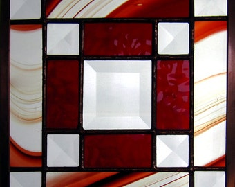 """Jo's Bevel 6"""" Handmade Stained Glass Quilt Square in Red/Burgundy and Clear Glass Bevels"""