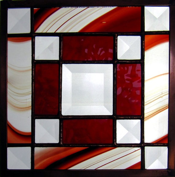 "Jo's Bevel 6"" Handmade Stained Glass Quilt Square in Red/Burgundy"