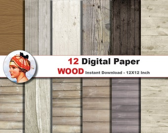 12 x Wood Papers -  Digital paper patterns -  rustic wood texture - Scrapbooking Paper, Instant Download (No. 14)