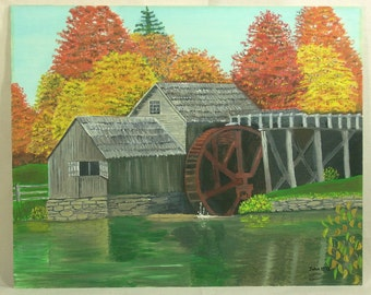Landscape Painting Mabry Mill Blue Ridge Virginia Canvas Board