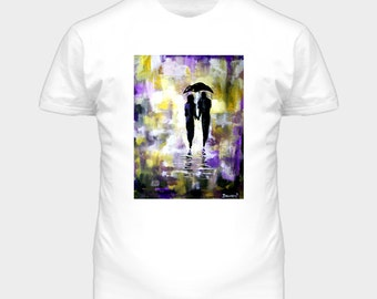 Walk in the rain romantic violet and yellow T shirt