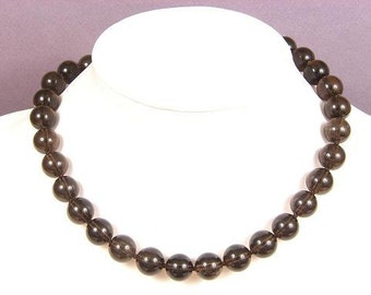Necklace Smokey Quartz AB 12mm Round Beads NSSQ4057
