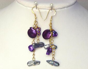 Earrings Purple Biwa, Purple Keshi, Silver Stick 14K EHKX0252
