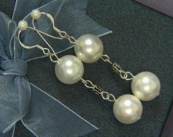"earrings White Shell Pearl 12mm Round 925 2.5"" EHSW0338"