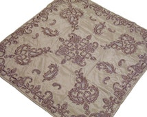 Designer Tablecloth - Unique Gold Dupion Silk Fabric Fine Table Overlay with Copper Color Dabka Work, from India - NH11655