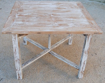 Vintage French square country folding table with paint patina in excellent condition