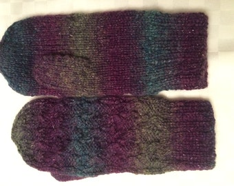 Hand Knit Mittens Womens Small to Medium