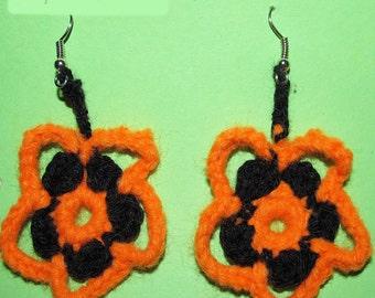 Crochet earrings beautiful orange and black earrings flower earrings gentle earrings handmade earrings gift ideas for women under 10 (CE-2)