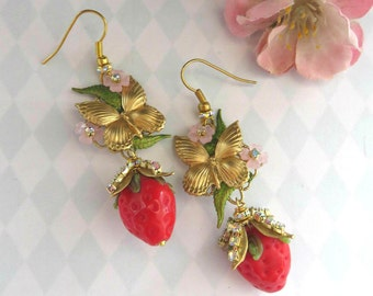 Earrings gold metal butterfly strawberry strass spring summer romantic feminine rockabilly