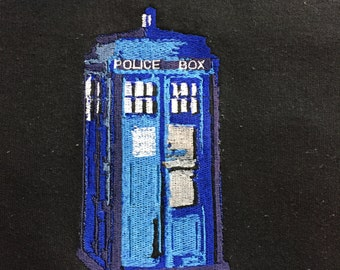blue box, tardis, police box,dr who blue tardis embroidery design