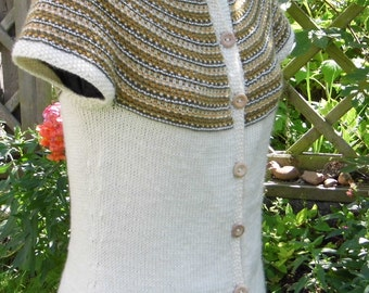 Hathor - A seamless, top down knitting pattern for a women's cardigan.