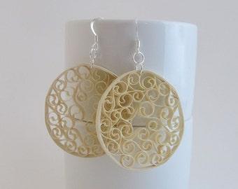 Cream Filagree Paper Earrings