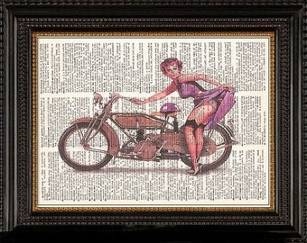 Motorcycle Redhead Pin Up Girl- -Vintage Dictionary Art Print---Fits 8x10 Mat or Frame