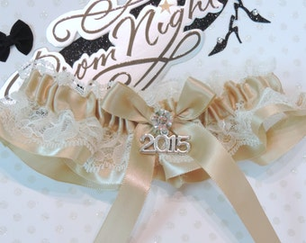 Prom Garter, Champagne and Ivory Prom Garter, Custom Colors Prom Garter, Prom Garter, Wedding  Garters, Prom Garters, Bridal Garter, Garters