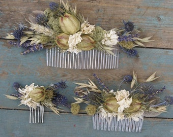 Rustic Autumn Dried Flower Hair Comb