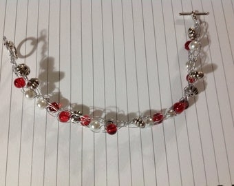 Crocheted Wire Bracelet!    Made with red, white and silver beads and silver wire