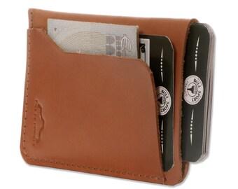 Minimalist leather vertical card holder, Leather Business Card Holder