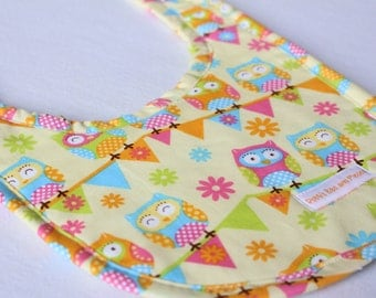 Handmade Baby Bib Owls on Bunting