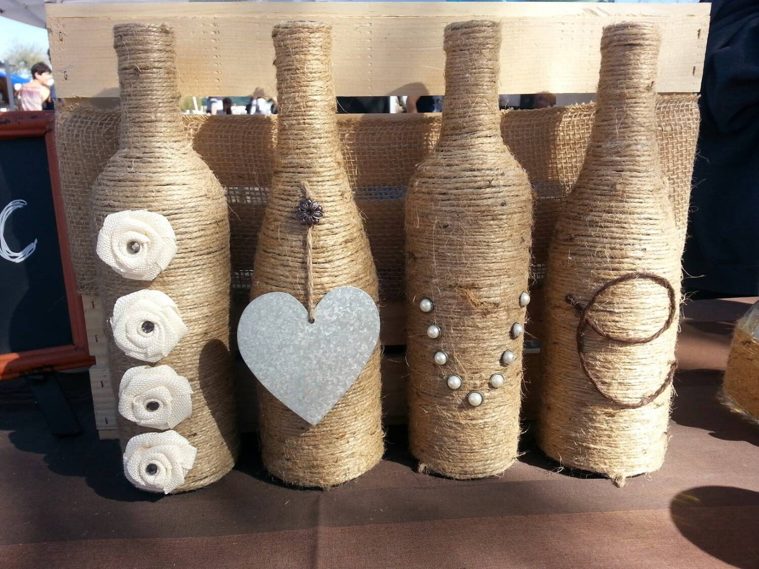 Twine Wrapped Mr and Mrs Wine Bottle Decor |Twine Covered Wine Bottles