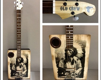Indian chief cigar box acoustic guitar