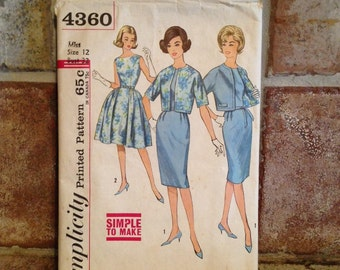 1950s Vintage Simplicity Dress Pattern for size 12