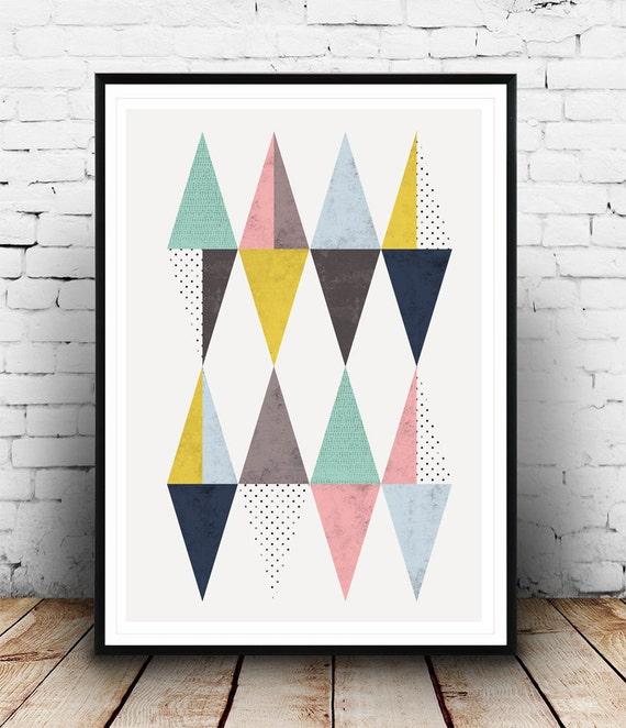 Triangle poster scandinavian poster triangles print modern - Affiche design scandinave ...