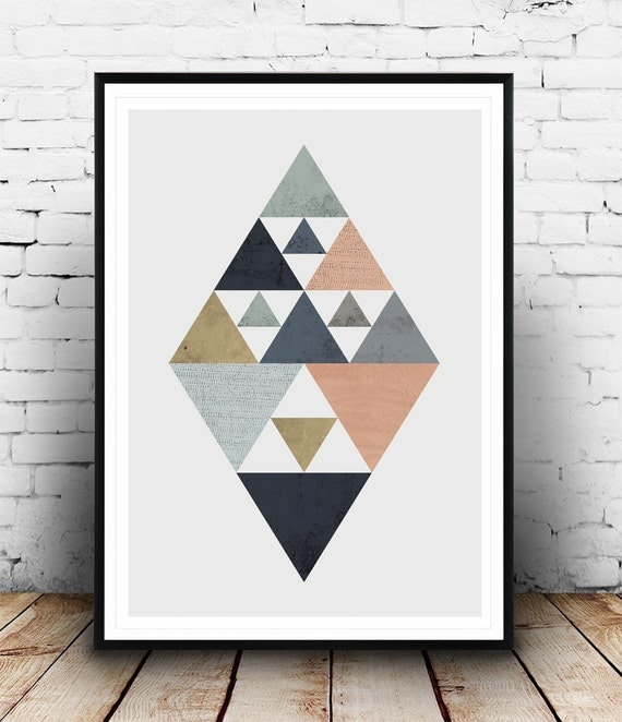 scandinavian poster triangle poster diamond print. Black Bedroom Furniture Sets. Home Design Ideas