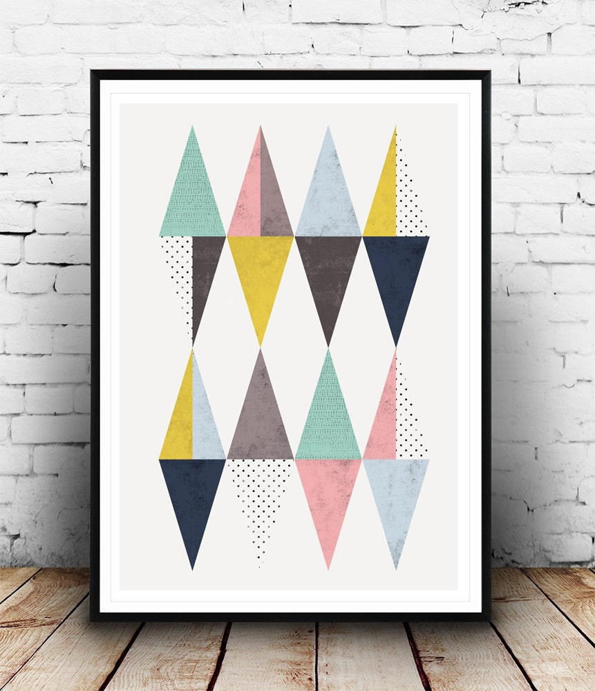 affiche de triangle affiche scandinave triangles impression. Black Bedroom Furniture Sets. Home Design Ideas