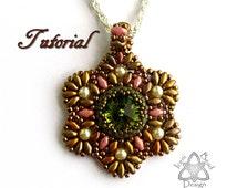 PDF Tutorial Swarovski Crystal Rivoli Flower Pendant with Superduo Beads.Instructions Beading Pattern