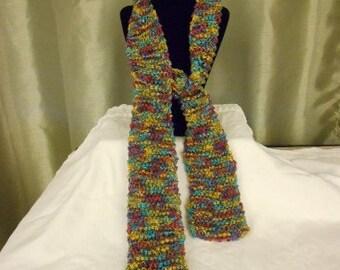 Knit Skinny Ribbon Yarn Scarf